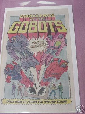 1985 Challenge of the Gobots Cartoons Ad