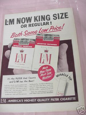 1954 Ad L&M America's Highest Quality Filter Cigarette