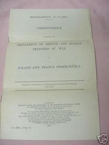 Employment of British and German Prisoners of War WWI