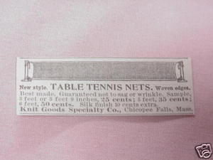 1902 Ad Table Tennis Nets, Chicopee Falls, Mass.