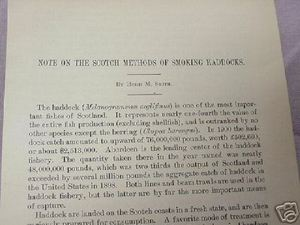 1902 3 Page Report Scotch Methods of Smoking Haddocks
