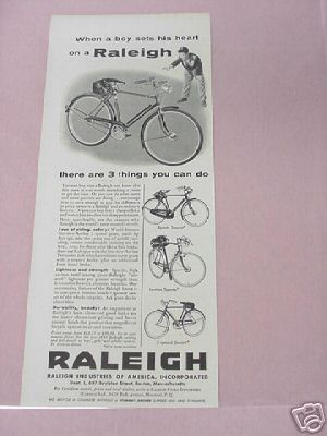 1955 Raleigh Bicycles Ad 3 Styles Featured!