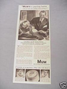 1940 Ad Mum Deodorant Mum's A Paying Habit