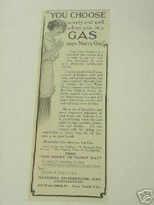1914 National Commercial Gas Association Ad Nancy Gay