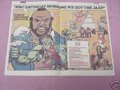 1983 NBC Saturday Morning Cartoons Ad Smurfs Thundarr