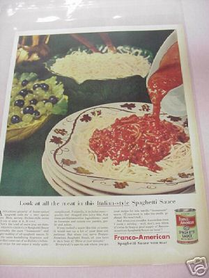 1955 Franco-American Spaghetti Sauce With Meat Color Ad