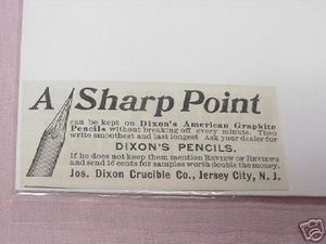 1897 Dixon's Pencils Ad Jersey City, N. J.