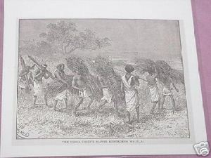 1889 Africa Illustrated Page Slaves Rebuilding Wadelai