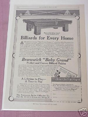 1914 Brunswick Baby Grand Billiards Table Ad
