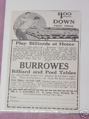 1914 Ad Burrowes Billiard Table E.T . Burrowes Portland
