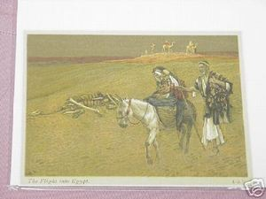 1899 Illustrated Bible Page The Flight Into Egypt