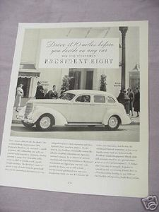1937 Automobile Ad New 1938 Studebaker President Eight