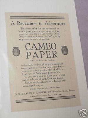 1913 Cameo Paper Ad S. D. Warren & Company, Boston