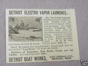1897 Detroit Boat Works Electo Vapor Launches Ad