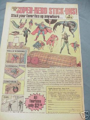 1974 Ad Super-Hero Stick-Ons Superman, Batman, Flash