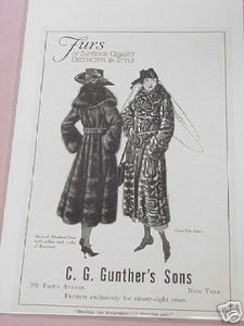 1918 Ad C. G. Gunther's Sons Furs Ad, New York City