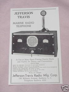 1938 Jefferson Travis Marine Radio Telephone Ad