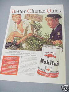 1940 Ad Mobiloil Better Change Quick Mobil Oil