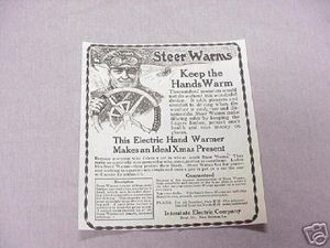 1919 Ad Steer Warms Electric Hand Warmer