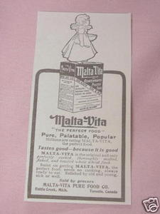 1902 Ad Malta-Vita The Perfect Food, Battle Creek, Mich.