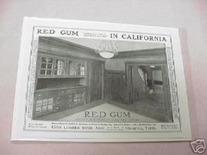 1918 Ad Red Gum In California Cabinet Wood