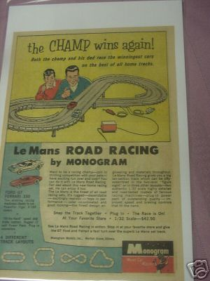 1966 Color Ad Monogram 1/32nd Le Mans Slot Car Set