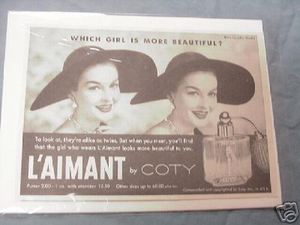1956 Ad L'Aimant Perfume by Coty