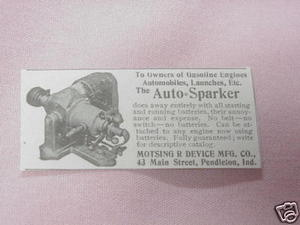 1902 Ad The Auto Sparker Motsing R Device Pendleton, Ind.