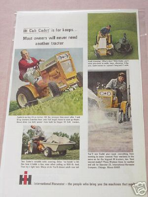 International Harvester IH Cub Cadet 1965 Color Ad