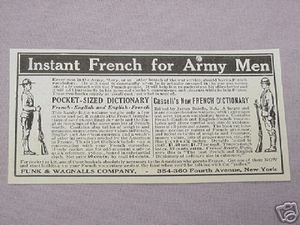 1917 WWI Ad Instant French For Army Men Funk & Wagnalls