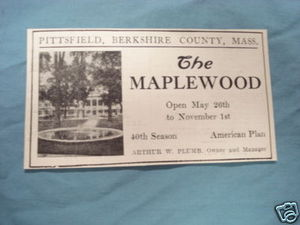1927 Ad The Maplewood, Pittsfield, Mass.