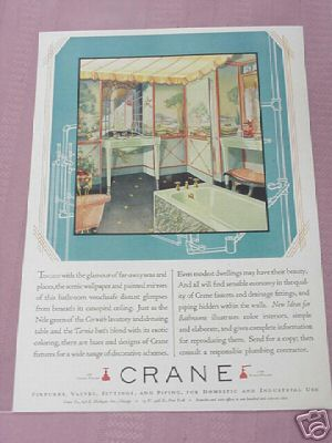 1928 Crane Fixtures Valves Fittings & Piping Color Ad