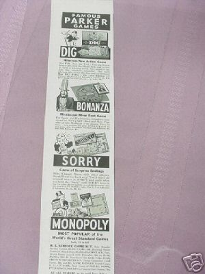 1941 Parker Brothers Games Ad Monopoly Sorry Dig