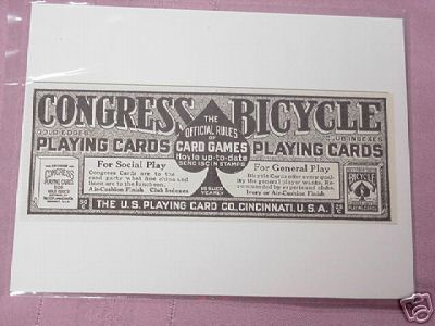 1915 Ad Congress & Bicycle Playing Cards