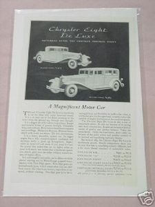 1931 Ad Chrysler Eight De Luxe