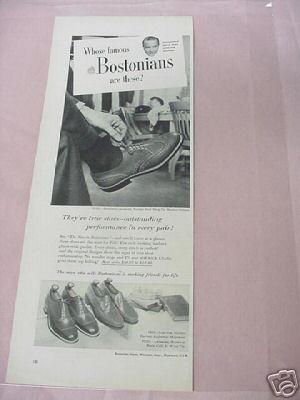 1954 Bostonian Shoes Ad Whitman, Mass.