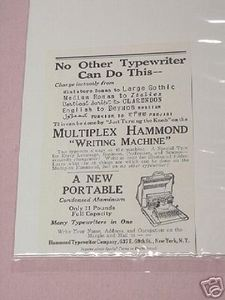 1918 Typewriter Ad Multiplex Hammond Writing Machine