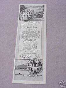1925 Cunard Cruise Ship Ad The West Indies