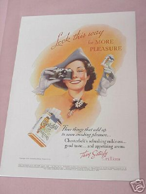 1938 Chesterfield Cigarettes Ad Woman With Camera