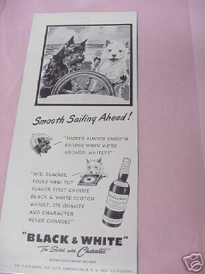 1953 Kentucky Black & White Scotch Ad With Blackie and Whitey
