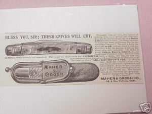1897 Ad Maher & Grosh Co. Knives Toledo, Ohio
