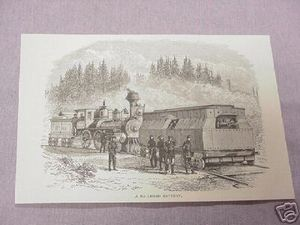 1886 Civil War Illustrated Page A Railroad Battery