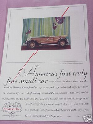 1928 The Little Marmon 8 Four Passenger Speedster Ad