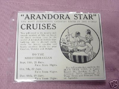 1931 Arandora Star Ocean Liner Ad Blue Star Cruise Ship