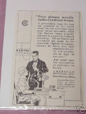 1915 Ad American Optical Co., Southbridge, Mass.
