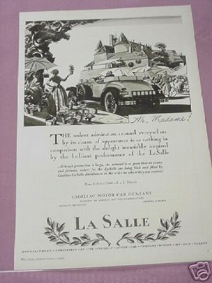1927 La Salle Motor Car Ad Cadillac Manufactured