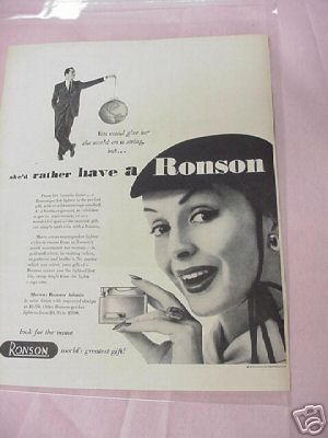 1954 Ronson Pocket Lighter Ad
