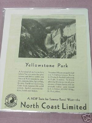 1930 Ad Northern Pacific Railroad Ad Yellowstone Park NP