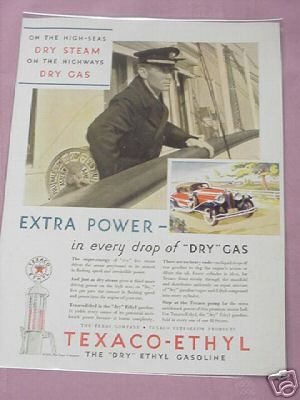 1931 Texaco-Ethyl Gasoline Color Ad With Sea Captain