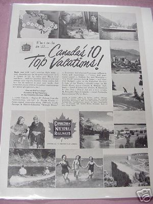 1951 Canadian National Railways Ad Top 10 Vacations!